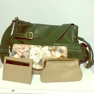 Maxx vegan green shoulder bag with cool.wallet